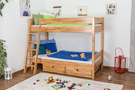 Cot Johann Bunk Bed Solid Beech Rolling Natural Slatted Frame 90 X