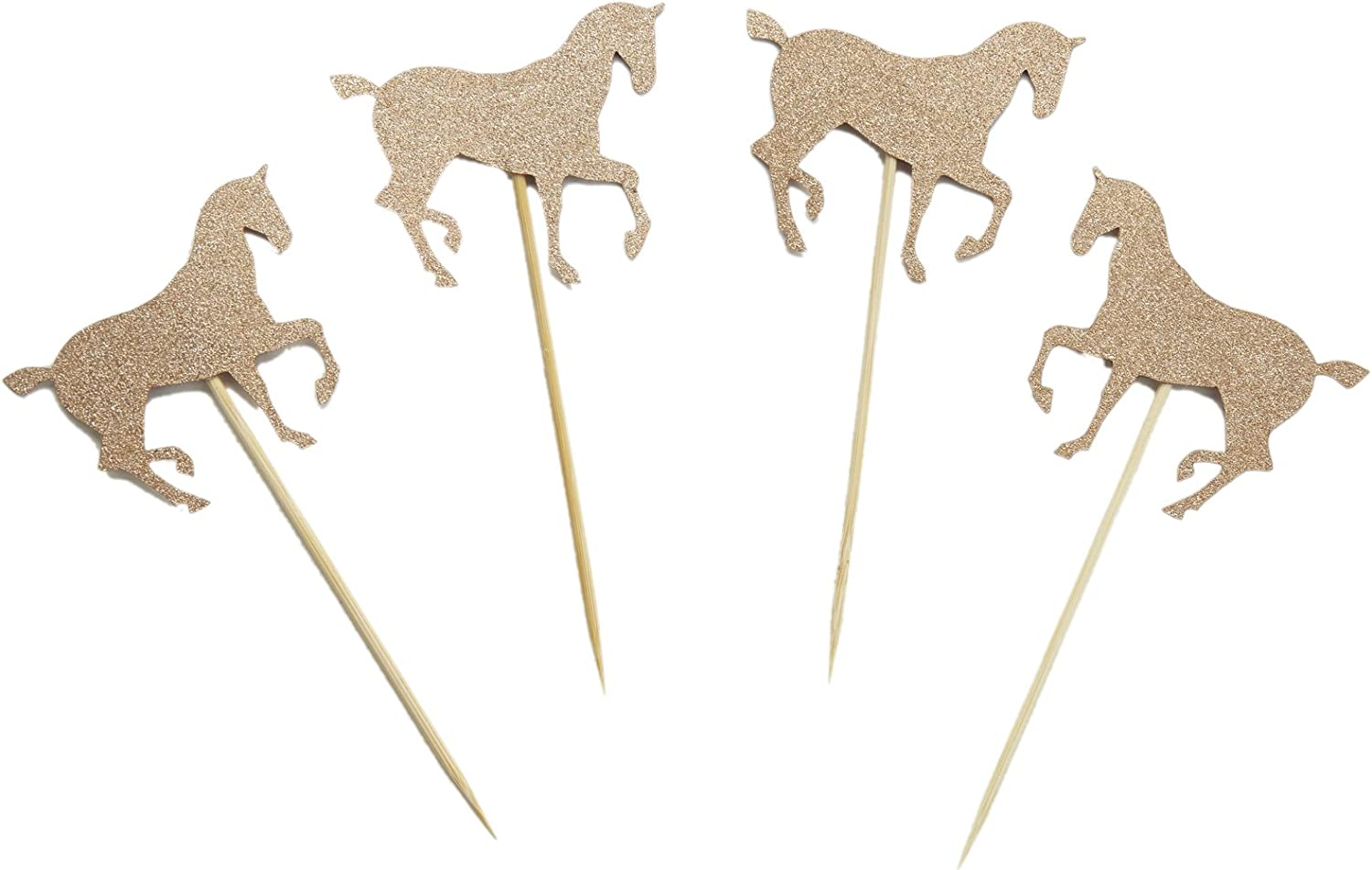 Rose Gold/Gold Glitter Horse Cupcake Topper for Birthday Party Baby Shower Cake Decoration (Rose Gold)