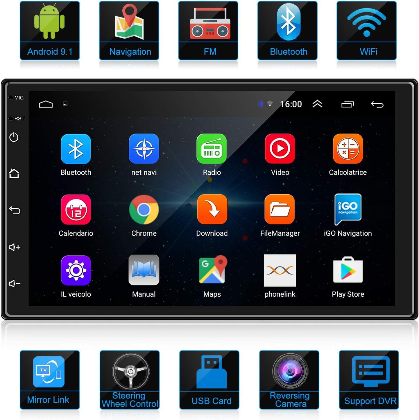 ANKEWAY 2 DIN Android 9.1 Radio del Coche Navegación GPS 7 Pulgadas 1080P HD Pantalla Táctil WiFi/Bluetooth Autoradio Manos Libres 1G/16G Multimedia Car Stereo+Internet WiFi+Cámara de Visión Trasera