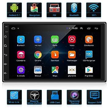 ANKEWAY 2 DIN Android 9.1 Radio del Coche Navegación GPS 7 Pulgadas 1080P HD Pantalla Táctil WiFi/Bluetooth Autoradio Manos Libres 1G/16G Multimedia ...