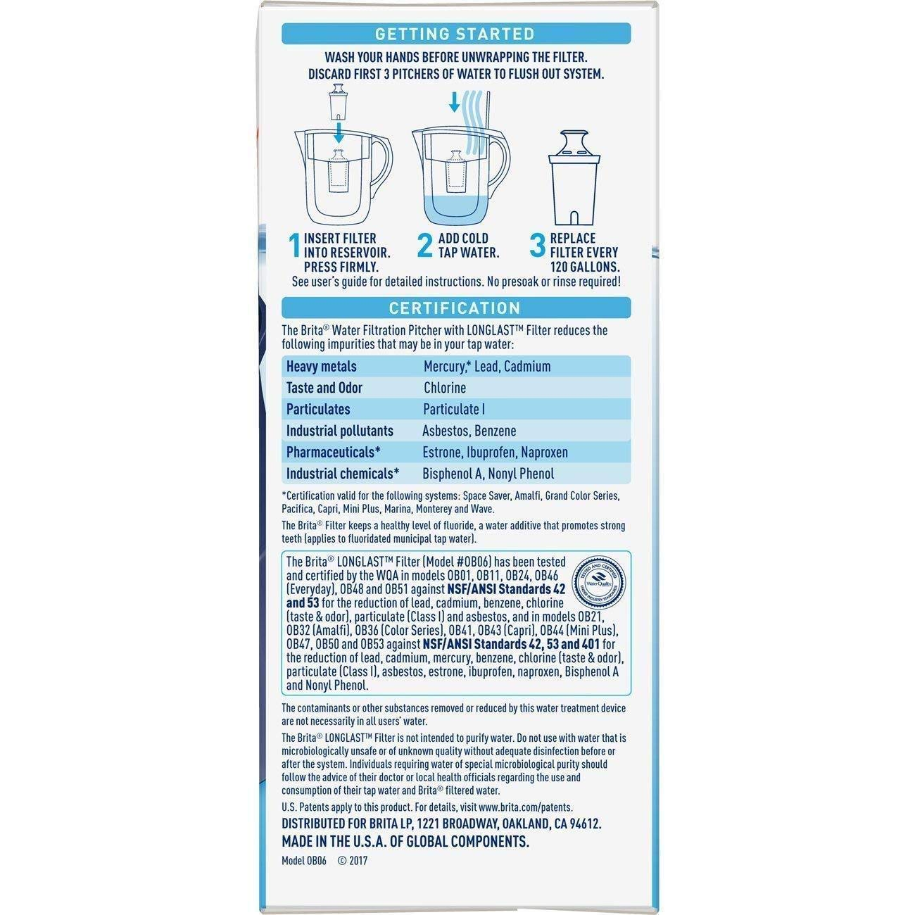 BPA Free Britа Longlаst Water Filter (Pack of 2) Reduces Lead Longlаst Replacement Filters for 10060258362432 Pitcher and Dispensers