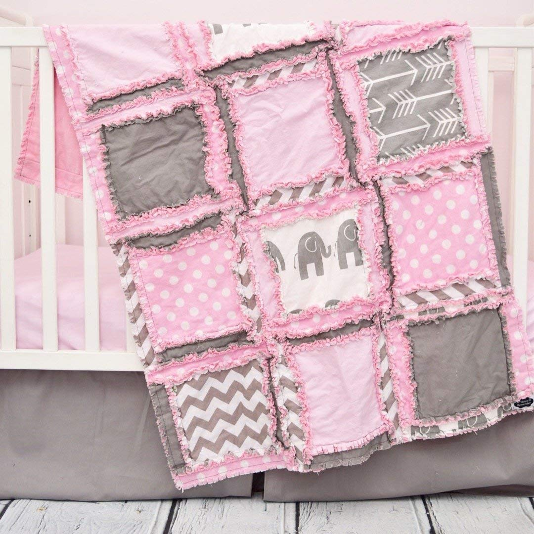 Elephant Baby Girl Crib Quilt for Nursery Bedding Decor - Light Pink/Gray / - Safari Baby Quilt ONLY