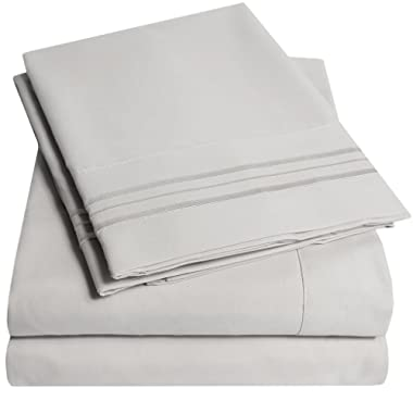 1500 Supreme Collection Bed Sheets Set - PREMIUM PEACH SKIN SOFT LUXURY 4 PIECE BED SHEET SET, SINCE 2012 - Deep Pocket Wrinkle Free Hypoallergenic Bedding - Over 40+ Colors - Queen Size, Silver