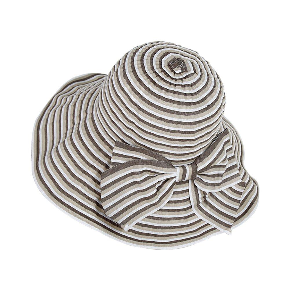 Kanggest.Mujer Sol Sombrero Verano Reversible Gorro de Playa Plegable Tapa de ala Ancha Sombrero de Pescador con Bow-Knot y Raya para Mujer-caf/é
