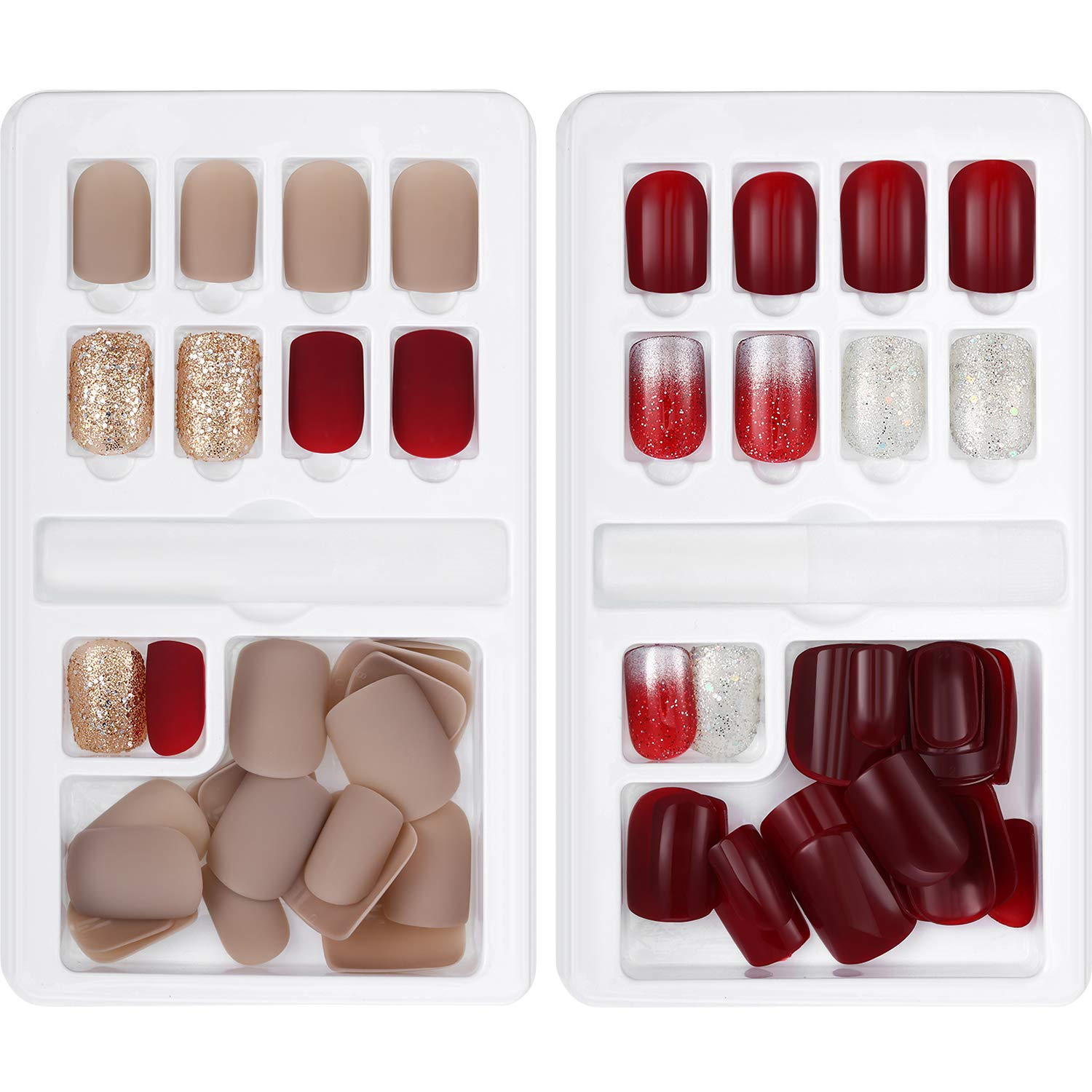 60 Pieces False Nails Artificial Fake Short Fingernails Nail Tips Kit 12 Sizes in 2 Boxes Full Cover with Files Stick for Nail Art Salon DIY ...
