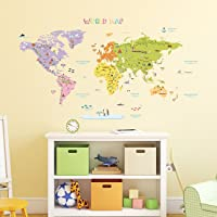 DECOWALL DAT-1306N Colourful World Map Kids Wall Stickers Wall Decals Peel and Stick Removable Wall Stickers for Kids…