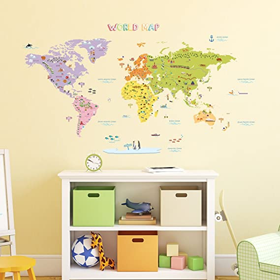 Decowall dmt 1306n colourful world map kids wall decals wall stickers peel and stick removable wall stickers for kids nursery bedroom living room large