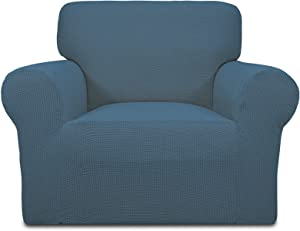 Easy-Going Stretch Oversized Chair Sofa Slipcover 1-Piece Couch Sofa Cover Furniture Protector Soft with Elastic Bottom for Kids Spandex Jacquard Fabric Small Checks Bluestone