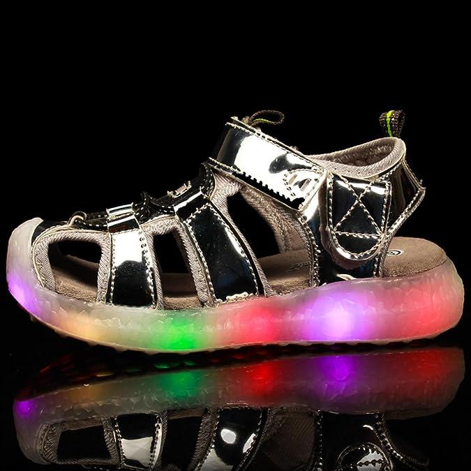 Z.SUO Infiammante con Scarpe LED di Ricarica USB,Sandali Bambina Bambino Unisex Bambini(34 EU,Rosa)