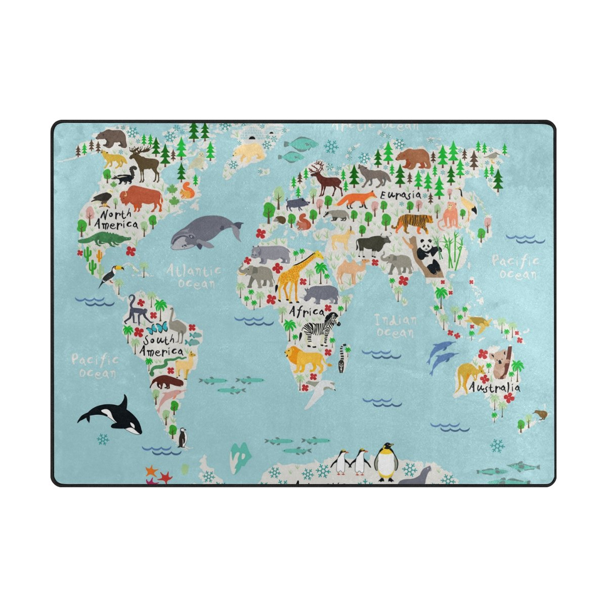 Naanle animal world map non slip area rug for living dinning room naanle animal world map non slip area rug for living dinning room bedroom kitchen gumiabroncs Gallery