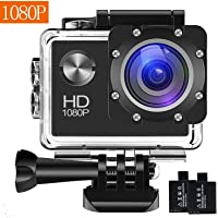 Action Camera, 12MP 1080P 2 inch LCD Screen, Waterproof Sports Cam 120 Degree Wide Angle Lens, 30m Sport Camera DV Camcorder with with 2 Rechargeable Batteries and Mounting Accessories Kit G002