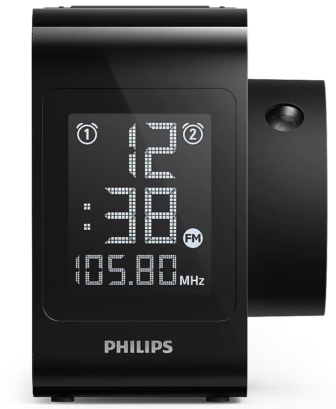 Philips AJ4800 - Radio Reloj con proyección de Hora (Radio Digital, Alarma Dual), Color Negro