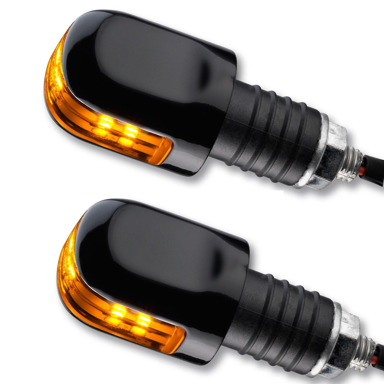 LED Ochsenaugen Blinker Lenkerenden Motorrad Blinker OX schwarz get/önt