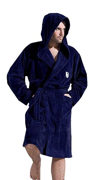 Men Gents Soft Knee Length Hooded Bath Robe Dressing Gown Bathrobe with Hood 4d5899fa8
