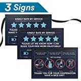 "Uber Lyft Sign Rideshare Accessories - 6"" x 4"" - Rating Tip Hang Tag for Car - Personalized Tipping - Includes (2) ""Please Rate My Service"" & (1) ""Substances Not Allowed"" Signs (Set of 3)"