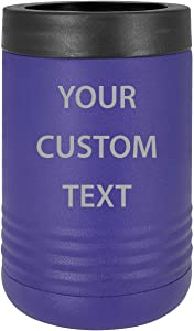 Custom Personalized Stainless Steel Engraved Insulated Beer Beverage Holder Can Cooler (Purple)