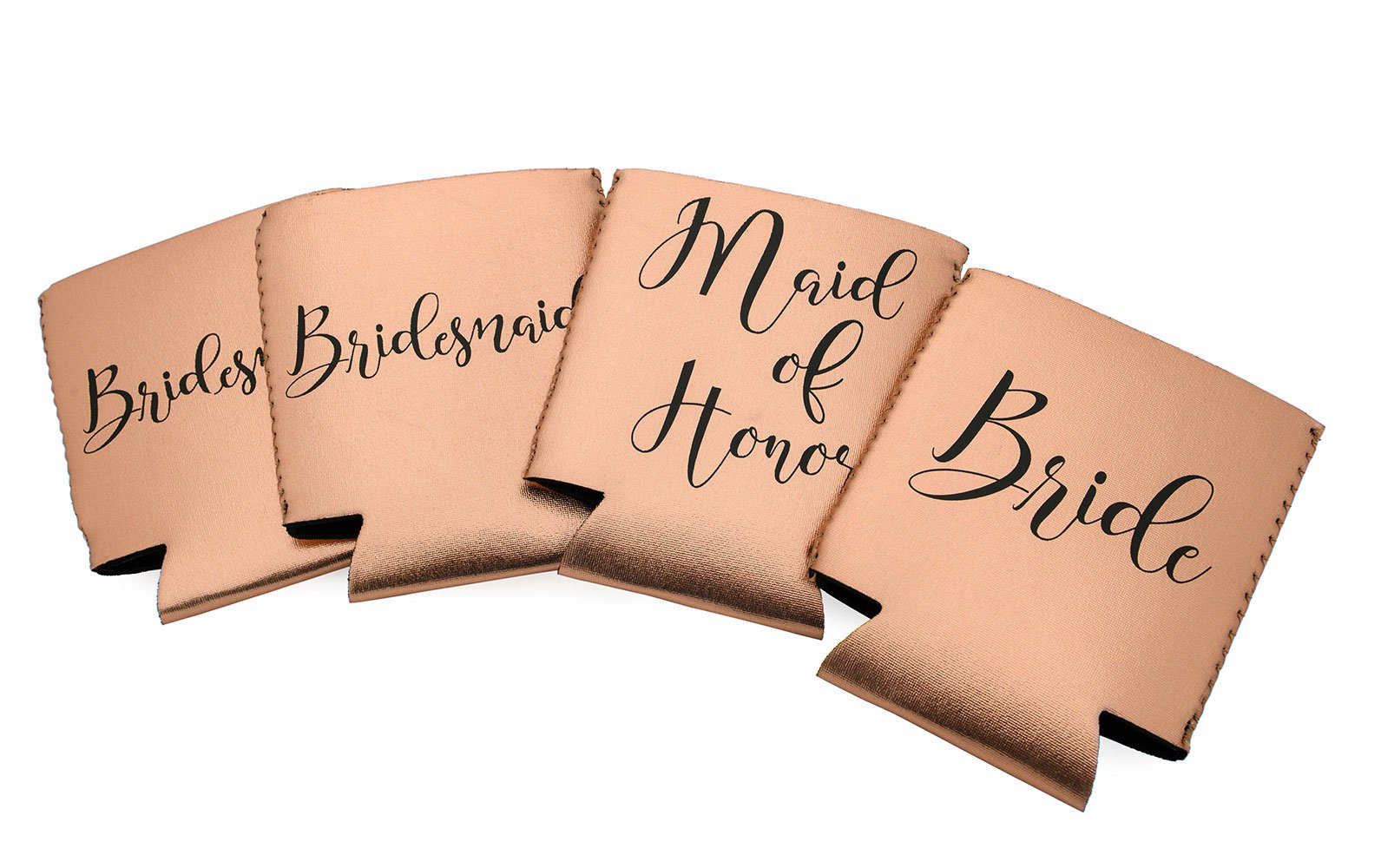 Miamica Bridal Party Drink Sleeves Or Can Coolers, Rose Gold