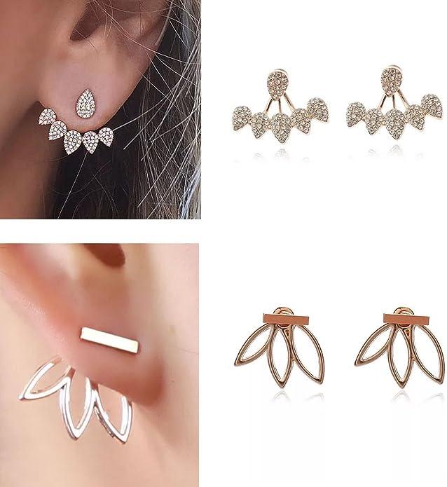 Gold .Silver Rose. Gold Zhenhui Lotus Flower Earrings 4 Pairs Crystal Ear Jacket Studs Earrings for Women Girls,Simple Chic Jewelry