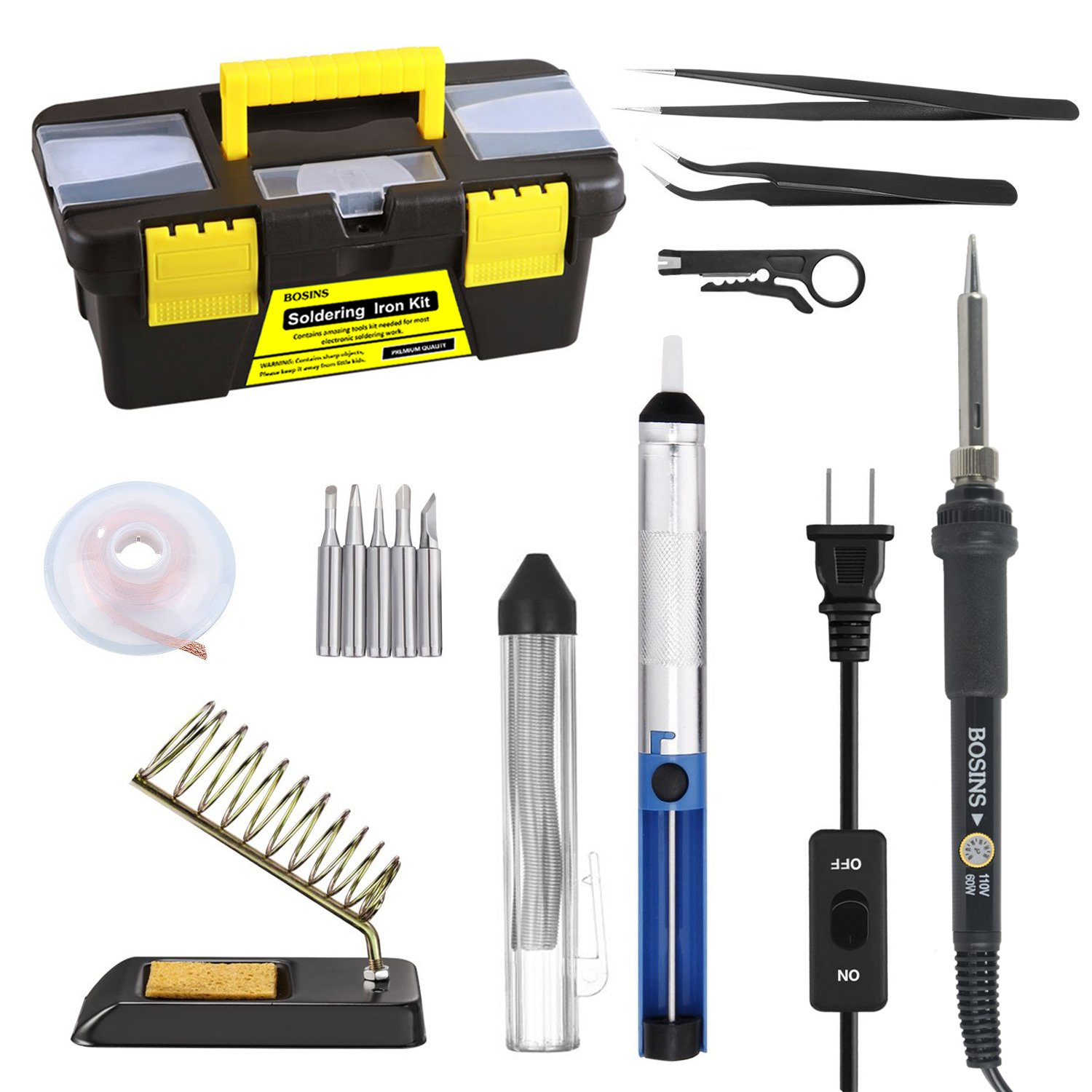 Soldering Iron Kit, 60W Adjustable Temperature Solder Kit with On/Off Switch, 5pcs Soldering Tips, Solder Sucker, Solder Wire, Solder Wick, Wire Stripper Cutter, 2pcs Anti-static Tweezers, Stand wit