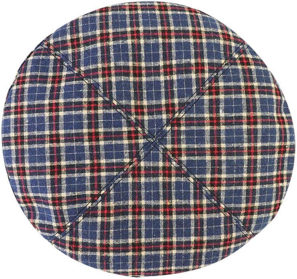 AQSWDE Boina de algodón a cuadros de moda para mujer, gorro desmontable, ajustable retro y suave
