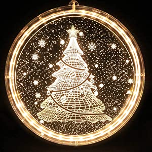 LETILY Christmas Lights Indoor Christmas Decorations Outdoor Hanging 3D Acrylic Fairy Lights Battery Operated String Light for Wall Windows Pathway Patio Bedroom Decor,Warm White(Christmas Tree)