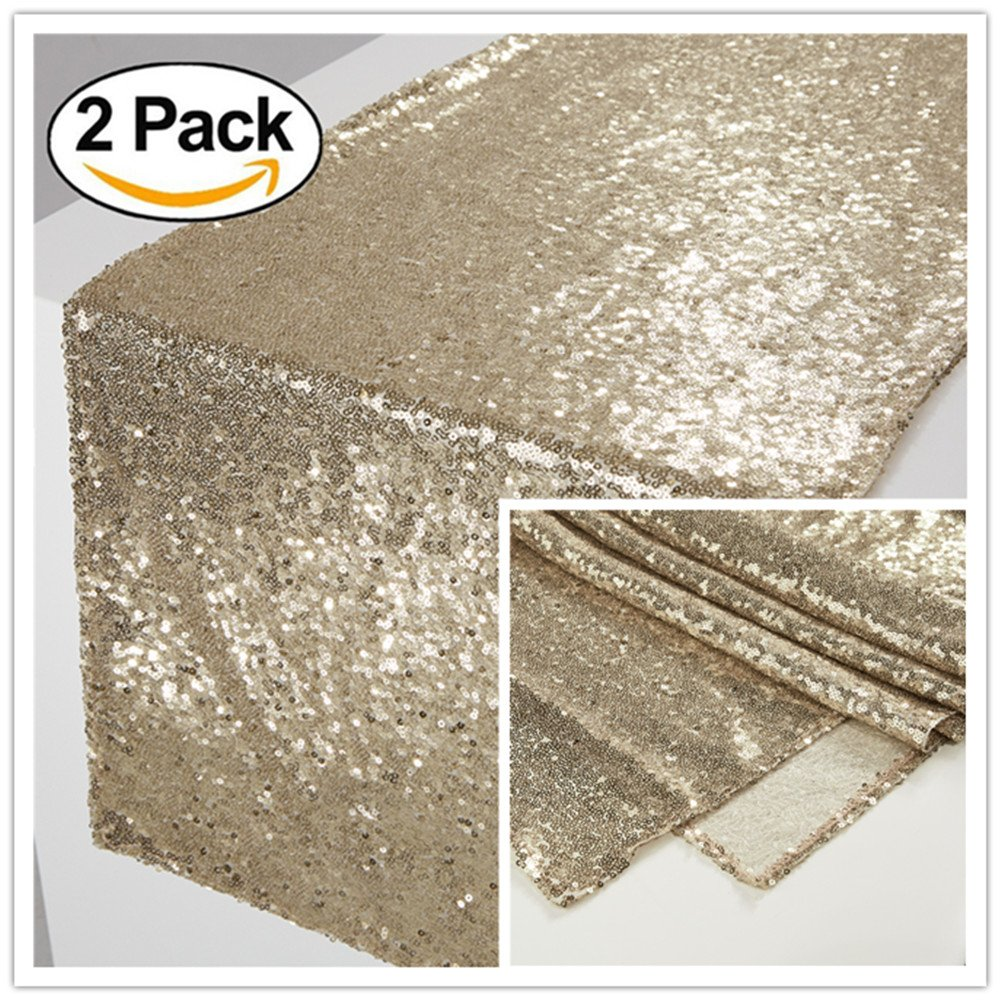 Zdada 1 Packed 12x72 Black Sequin Candy Table Cover Tea Party Sequin Tablerunner for New Year Eve