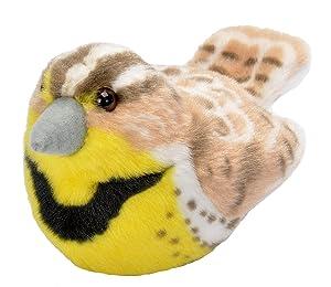 Wild Republic Audubon Birds Western Meadowlark Plush with Authentic Bird Sound, Stuffed Animal, Bird Toys for Kids and Birders
