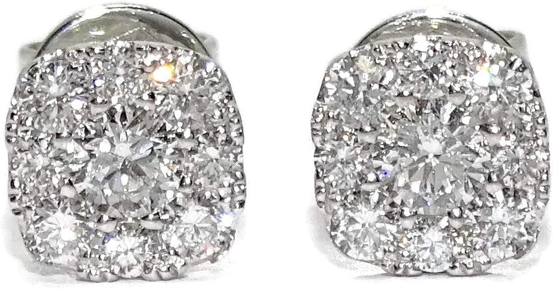 Preciosos pendientes de diamantes talla brillante de 0.41cts, 2 diamantes centrales de 0.16cts y 16 diamantes a su alrededor de 0.25cts, oro blanco de 18k con cierre presión de seguridad y 6mm