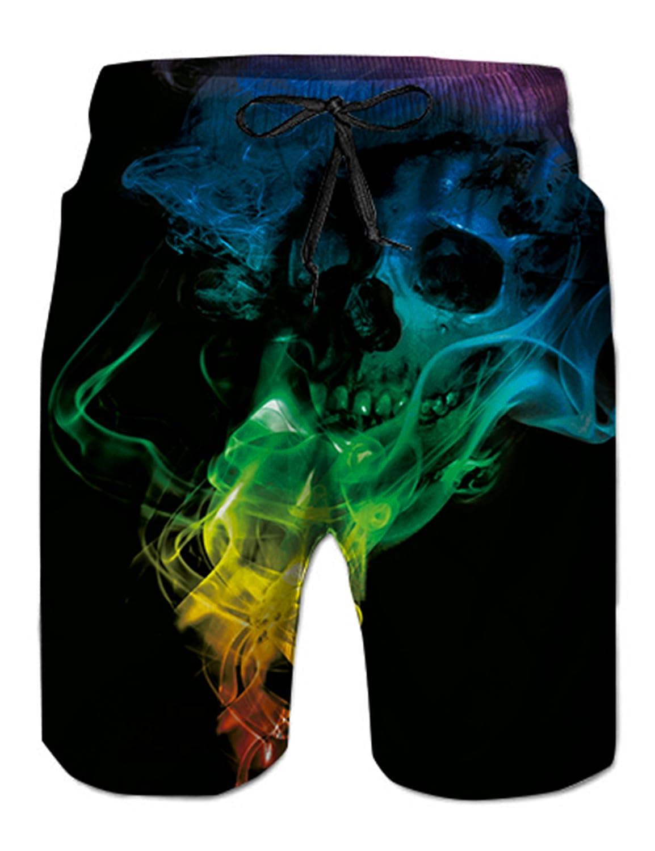NEWISTAR - Pantalones Cortos de Playa para Hombre, tamaño Mediano, impresión 3D, diseño gráfico Cráneo 3XL