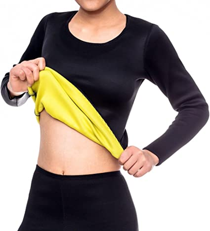 Ausom Womens Sweat Body Shaper Long Shirt Women Hot Thermo Slimming Sauna Suit..