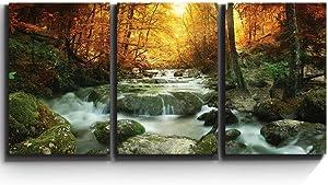 wall26 - Forest Waterfall Scene - Canvas Art Wall Art - 16