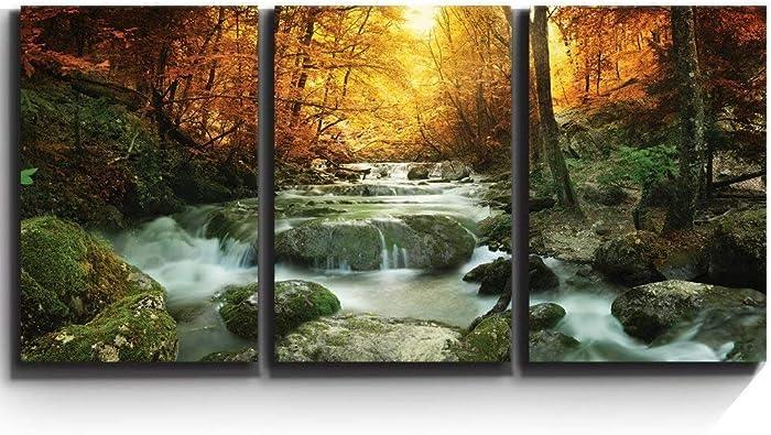 wall26 - Forest Waterfall Scene - Canvas Art Wall Art - 24