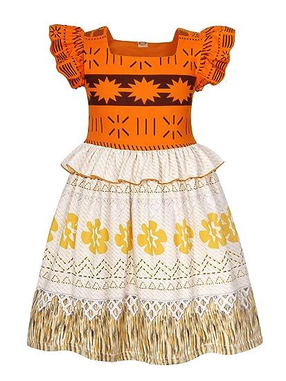 9de780ab1c Amazon.com: HenzWorld Moana Costume Girls Dress Swimsuit Princess Birthday  Party Holiday Cosplay: Clothing
