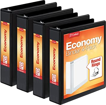 "3-Ring Binder Cardinal Economy 1/"" Round-Ring Presentation View Binders Holds 2"