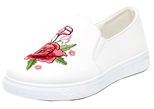 9db3e1a939f59 Refresh Footwear Women's Embroidered Floral Slip On Fashion Sneaker
