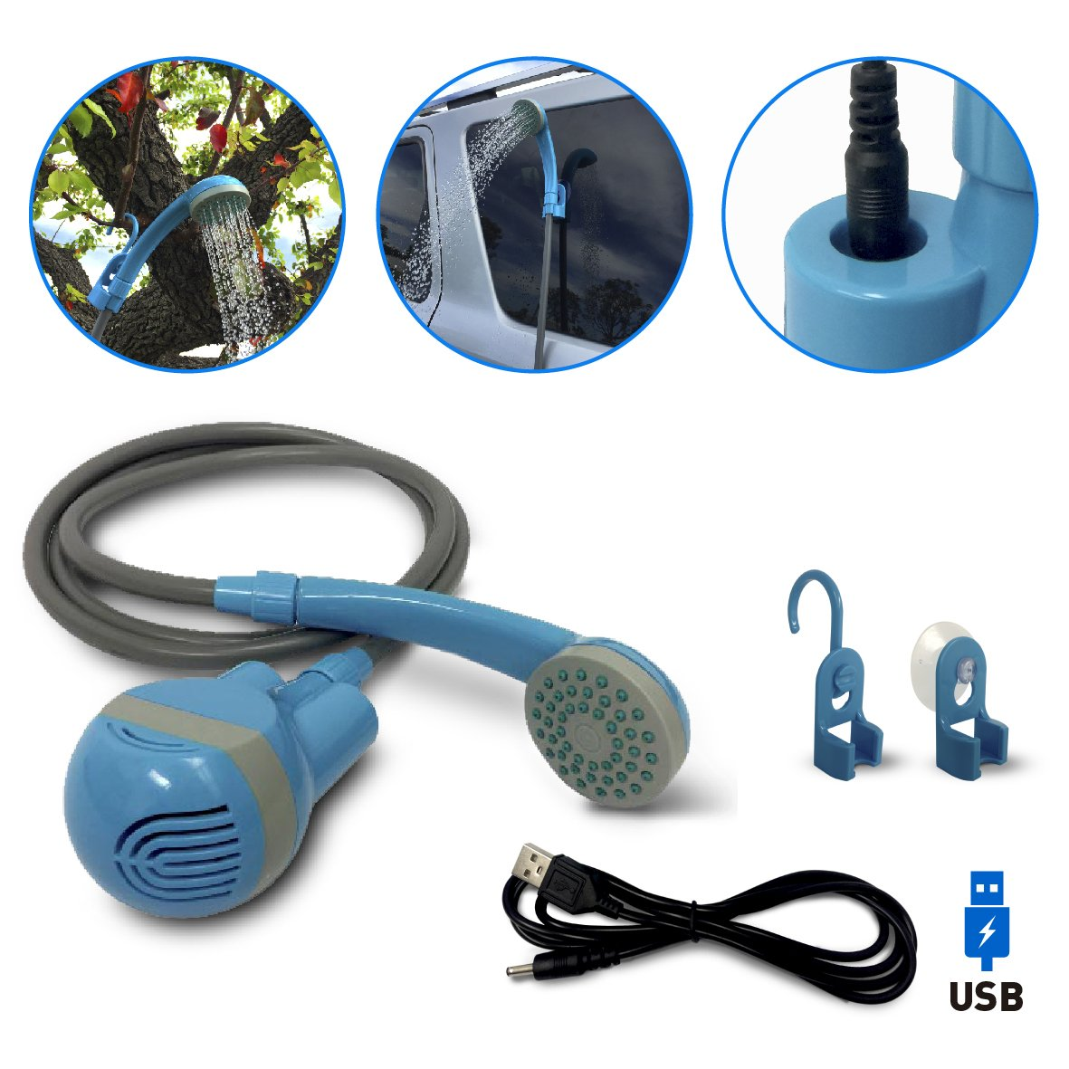 EasyGoProducts Rechargeable Indoor Outdoor Battery Shower – Pumps from Bucket, Lake or Bath Tub – USB Charger - Great for Camping, RV, Pets, Dogs, Baby, Camping, Hiking or Beach.