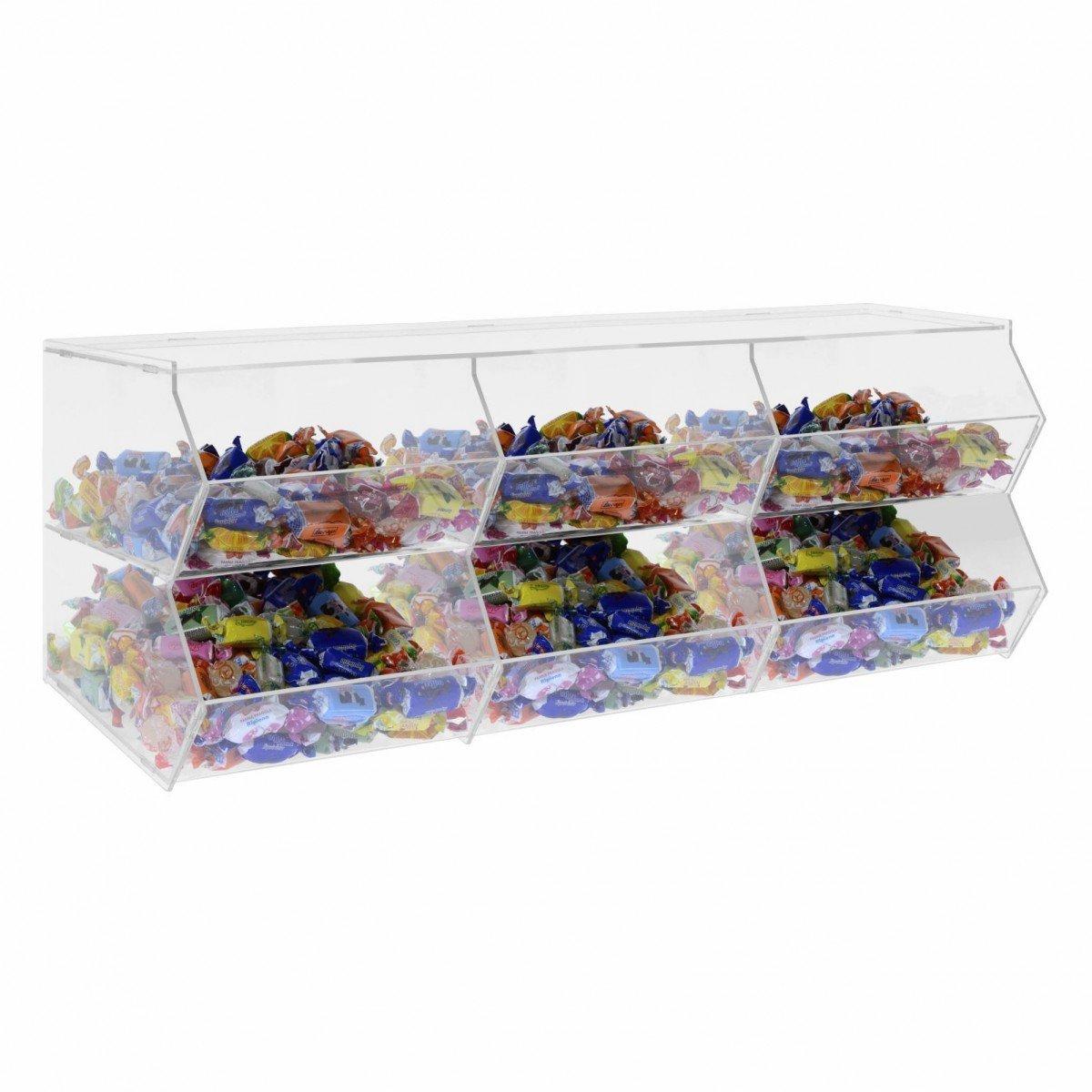 Av/à srl Porta Caramelle confezionate in plexiglass Trasparente Senza sportello a 6 Scomparti