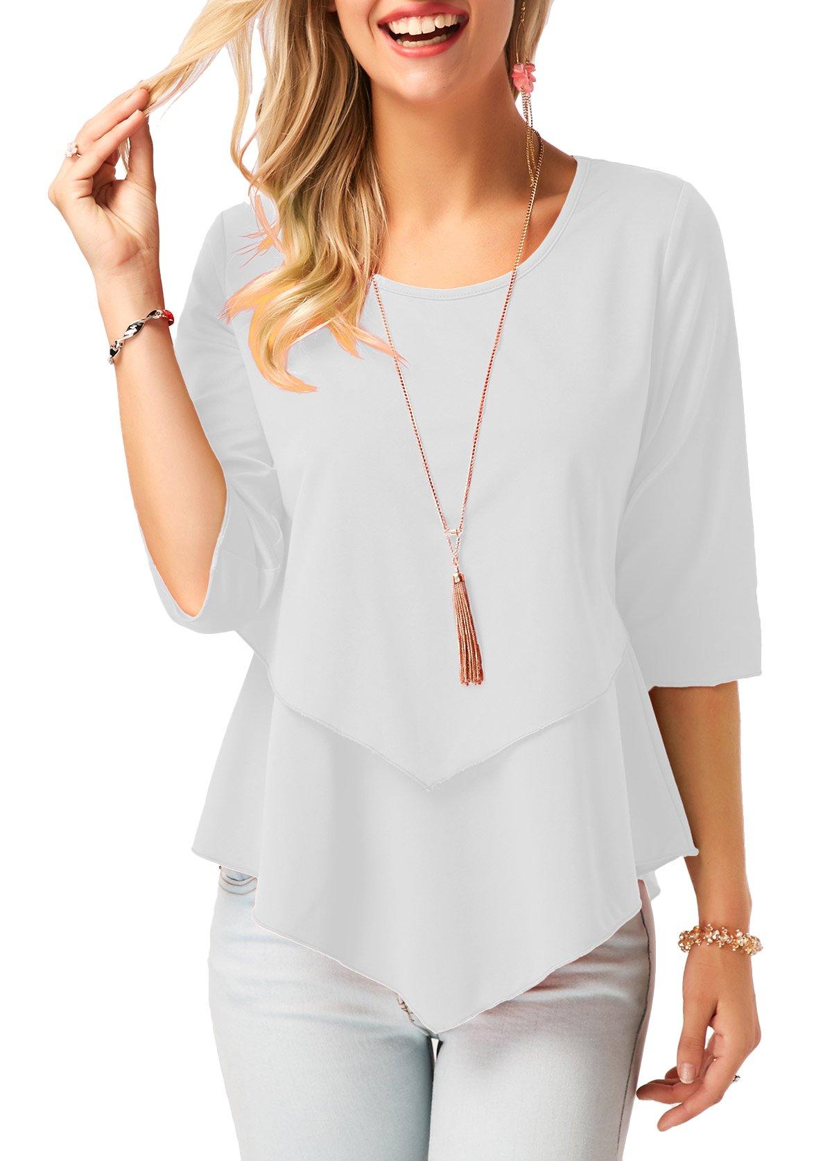 Women Solid White Plain T Shirt Hi-Low Layered Hem Blouse 3/4 Sleeve Tunic Tops