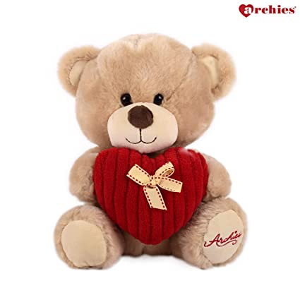 d19f1768d0 Buy Archies ? Soft Toys - Teddy Bear With Striped Red Heart ? Cute &  Romantic Valentine's Day Gift - (25 Cm) Online at Low Prices in India -  Amazon.in