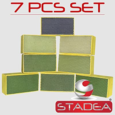Diamond Hand Polishing Pads STADEA for Stone Concrete Granite Marble - Set of 7 Pcs: Home Improvement