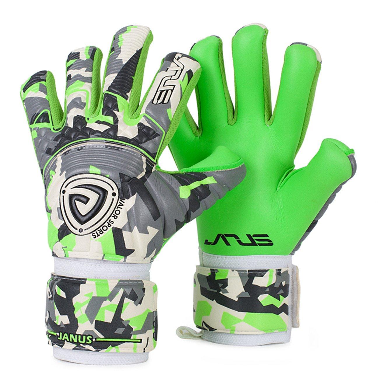 Jyh GoalieゴールキーパーGermanラテックス手袋with Removable Pro fingersaves、サイズ7 – 10ユニセックス大人用&ユースサッカーGoalies B07BHSC8PDグリーン/グレー 9