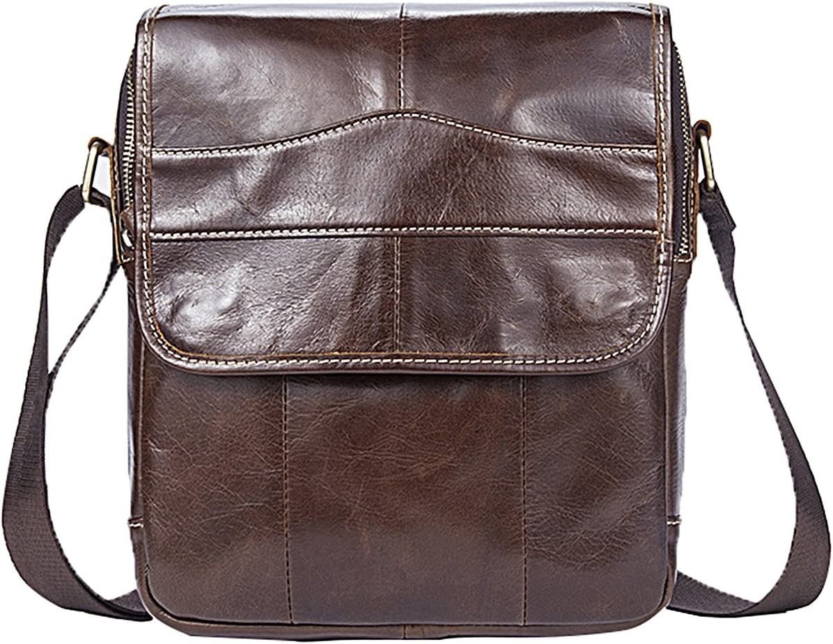 LAIDAYE Mens Vintage Casual Leather Crossbody Business Leisure Multi-Purpose Travel Backpack