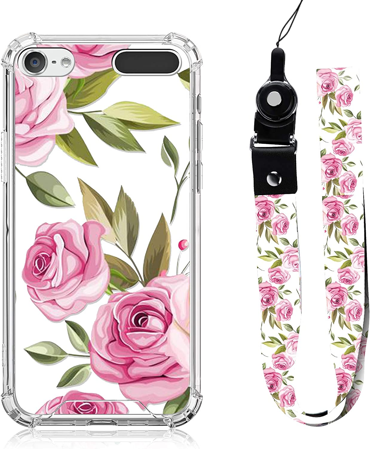 iPod Touch 5 6 7 Case Pink Rose Floral Design with Neck Strap Lanyard for Women Girls Protective Clear Bumper Case Cute Vintage Flower for iPod Touch 7th/ 6th/ 5th Gen MP3 Player Case Cover
