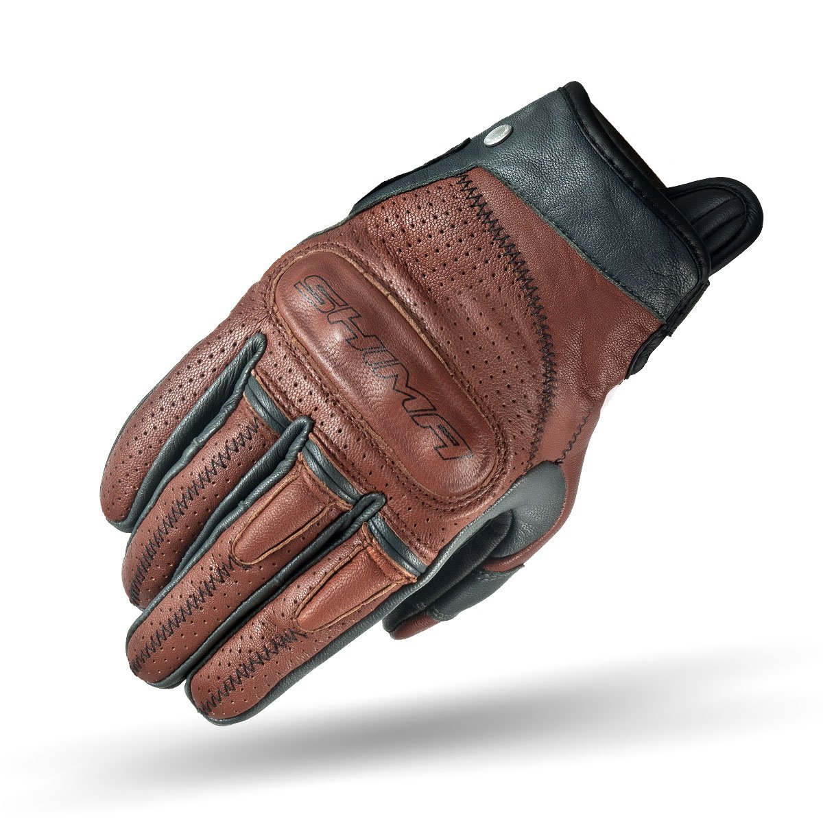 SHIMA Caliber Brown, Heritage Retro Vintage Classic Summer Motorcycle Gloves (S-XXL), Brown, Size:XL