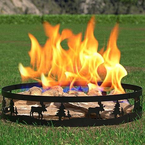 Regal llama Boston Patio jardín casa ciervos y árboles luz madera Fire Pit Fire Anillo.