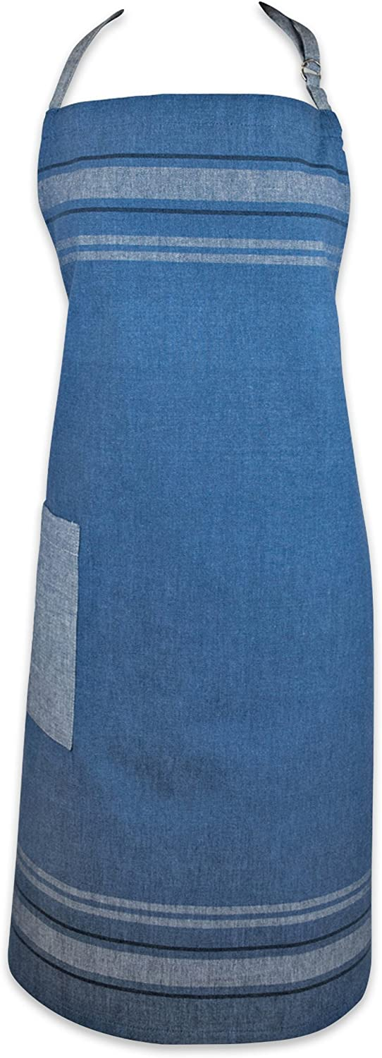 """DII Cotton French Stripe Kitchen Chef Apron with pocket and Extra-Long Ties, 33 x 28"""" French Country Farmhouse Men & Women Apron for Cooking, Baking, BBQ-Chambray Blue"""