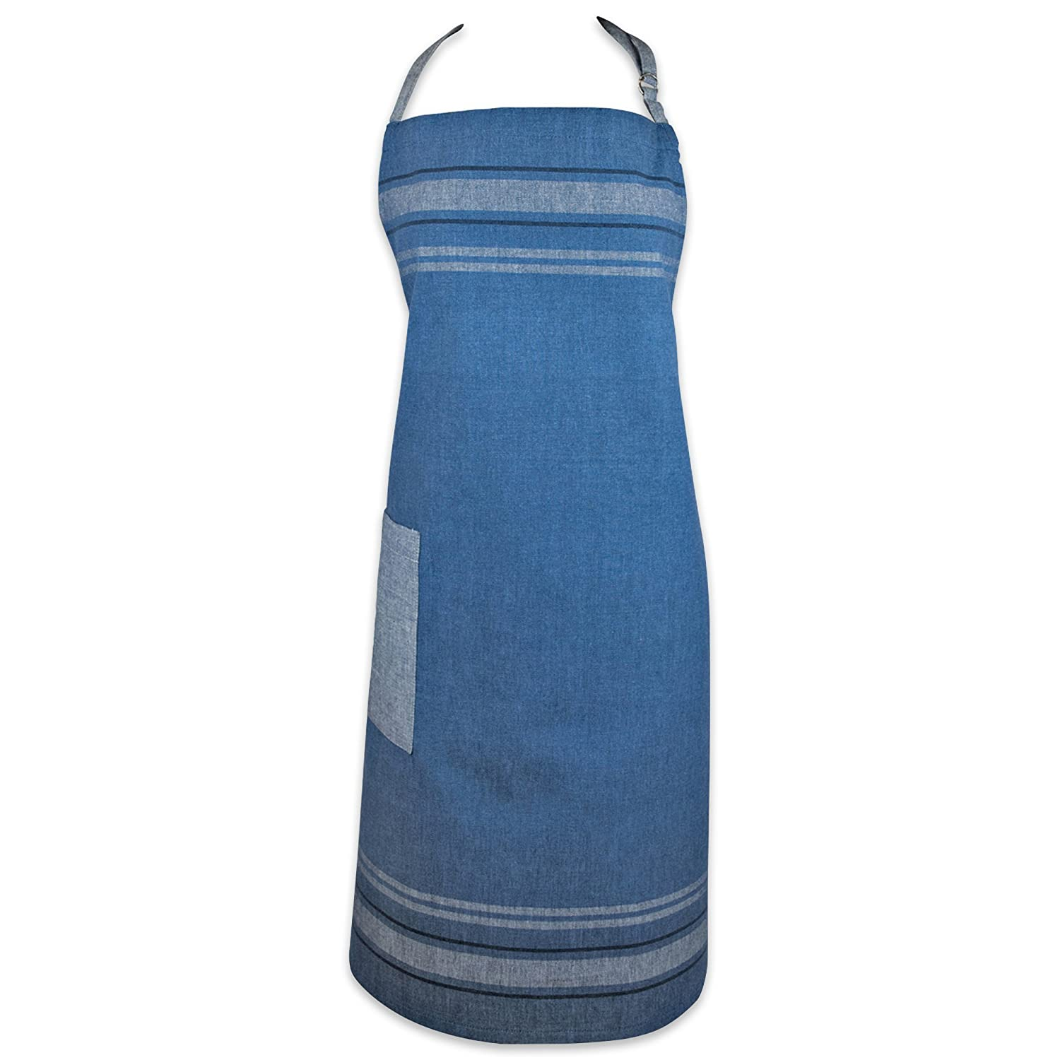 DII Cotton French Stripe Bistro Half Waist Apron with Pocket and Extra Long Ties, 30 x 28