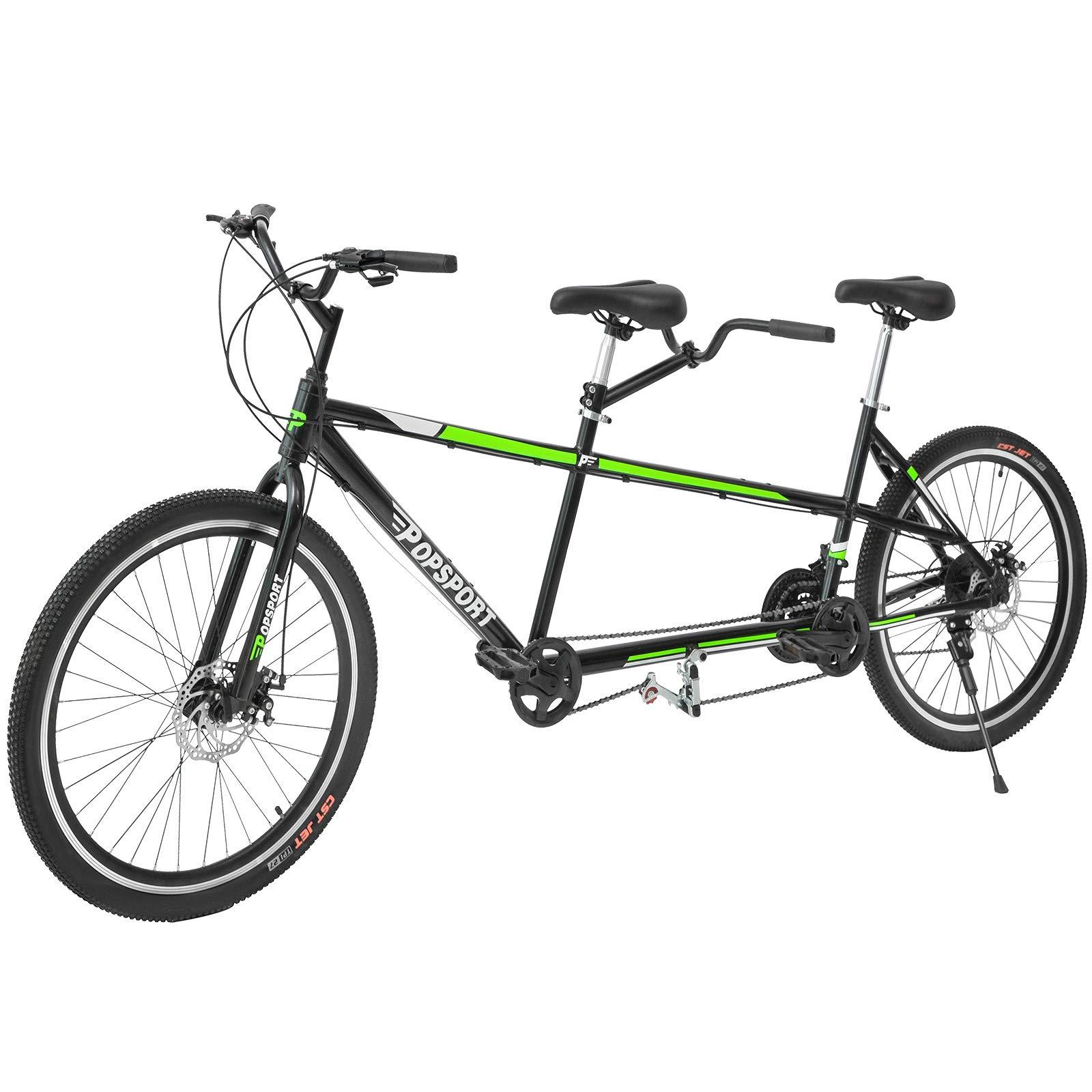 Mophorn Dual Drive Tandem Bike 26 Inch Wheel Aluminium Alloy Twinn Tandem Bicycle 7 Mechanical Disc Brakes (Green) by Mophorn