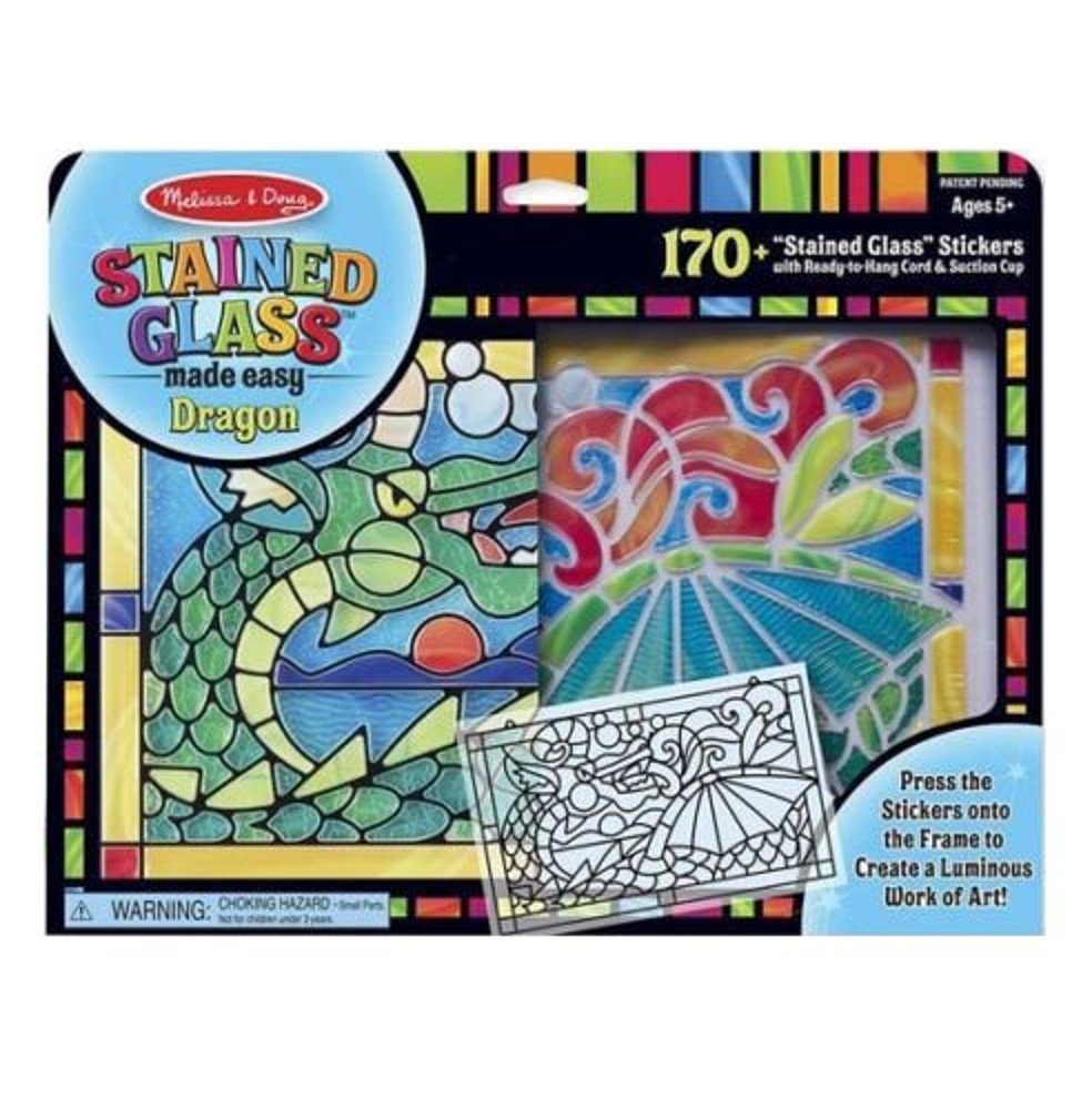Stickers Multi-Colour Melissa /& Doug 19289 Dragon Stained Glass Made Easy Craft Kit with 170