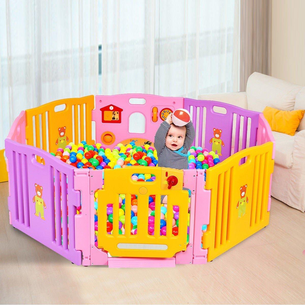 Pink 8 Panel Baby Playpen Kids Safety Play Center Center Yard Pink Indoor CHOOSEandBUY by CHOOSEandBUY (Image #2)